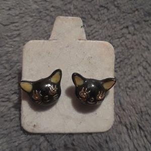 Betsey johnson black cat studs